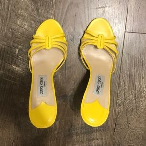 Jimmy Choo yellow leather sandals
